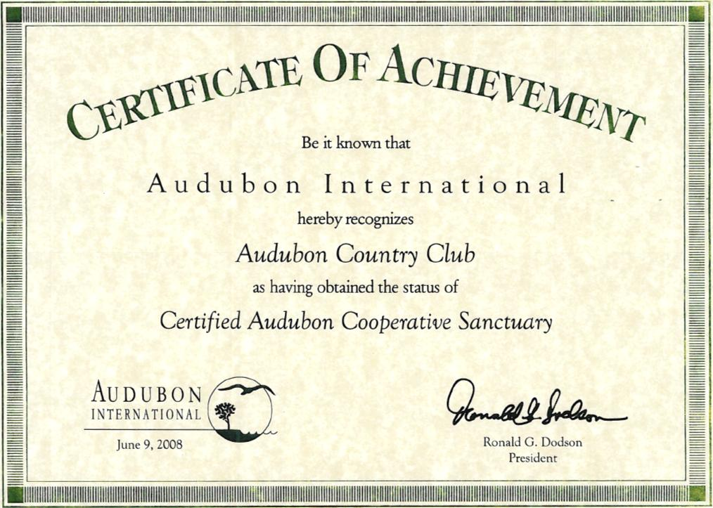 Audubon Country Club Certified Audubon Sanctuary Certificate Naples Florida